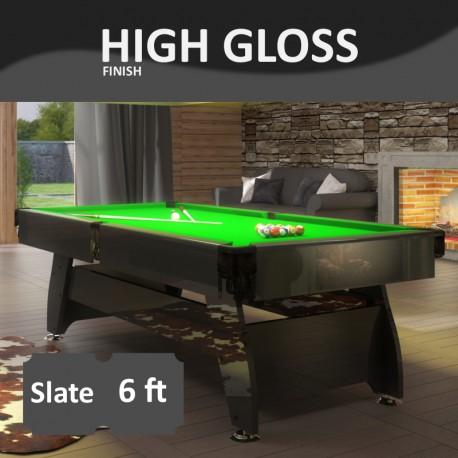 Vintage 6FT Slate Bed Pool Table High Gloss