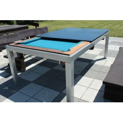 7FT Outdoor Pool Table Vermount Slate Bed Billiard Dining Table Garden Patio