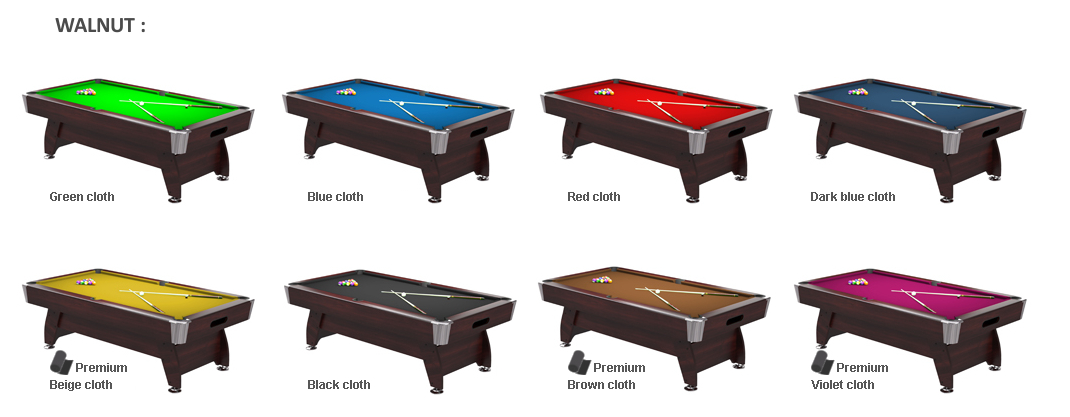 AVAILABLE CHOICES OF TABLE FINISH AND CLOTH COLOURS: